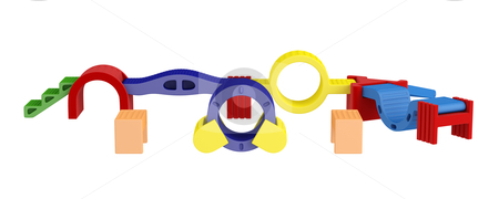 Colorful toy blocks stock photo, Colorful toy blocks isolated on white background by Nmorozova
