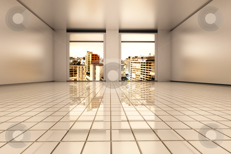 Sao Paulo Apartment stock photo, Interior visualisation of a empty Apartment in Sao Paulo. 3D rendered illustration. by Michael Osterrieder