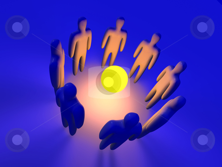Teamspirit Evocation stock photo, 3d Illustration. Evocating the Teamspirit.  by Michael Osterrieder