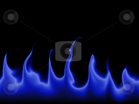 Flames Background stock photo, Blue flames against a black background. by Henrik Lehnerer
