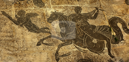 Ancient Roman Woman on Horse Cupid  Floors Baths of Neptune Osti stock photo, Ancient Roman Woman on Horse Cupid Mosaic Floors Baths of Neptune Ostia Antica Ruins Rome Italy Excavation of Ostia, ancient Roman port, next to airport.  Was port for Rome until 5th Century AD.  by William Perry