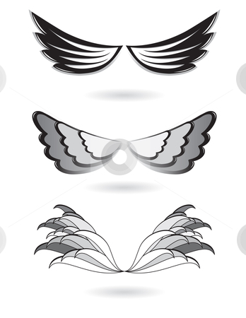 Set of angel wings stock photo, Set of angel wings. Illustration on white background. by dvarg