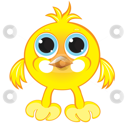 Cartoon gay yellow chicken stock photo, Cartoon gay yellow chicken. Illustration on white background by dvarg