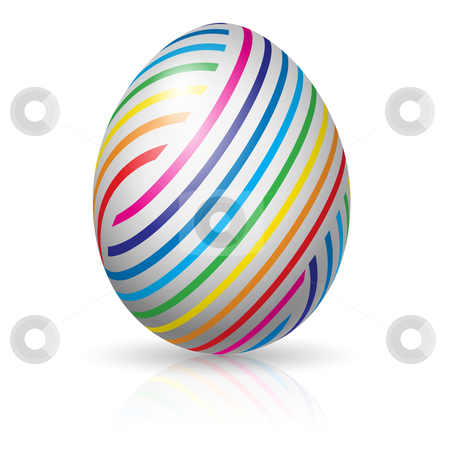 Easter egg with colorful stripes stock photo, Beautiful easter egg with colorful stripes. Illustration on white background by dvarg