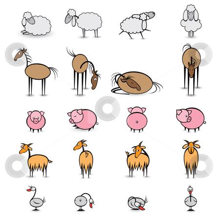 Set of various animals living on the farm stock photo, Set of various animals living on the farm. Illustration on white background  by dvarg