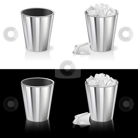 Set of garbage can stock photo, Set of Garbage can. Isolated on white and black background. by dvarg