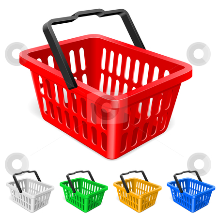 Colorful shopping basket stock photo, Colorful shopping basket. Illustration on white background  by dvarg