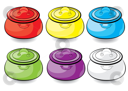 Cartoon colorful casserole stock photo, Cartoon colorful casserole. Illustration for design on white background  by dvarg
