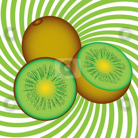 Ripe kiwi stock photo, Ripe kiwi. Illustration on an abstract green background by dvarg
