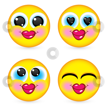 Four smiling faces stock photo, Four smiling faces, they are all happy and laughing. Illustration on white background by dvarg