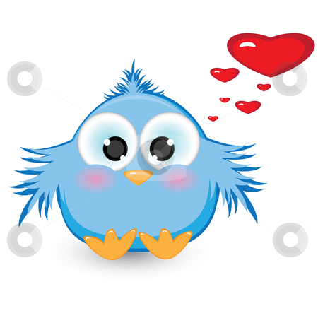 In love with shy blue sparrow stock photo, In love with shy blue sparrow. Illustration on white background  by dvarg