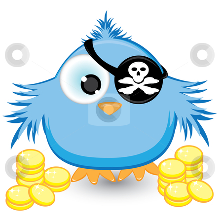 Cartoon pirate sparrow with gold coins stock photo, Cartoon pirate sparrow with gold coins. Illustration on white background by dvarg