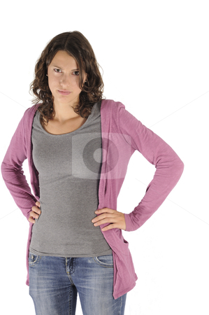 Angry teen girl stock photo, Young woman looking angry, isolated on white background by www.ericfahrner.com