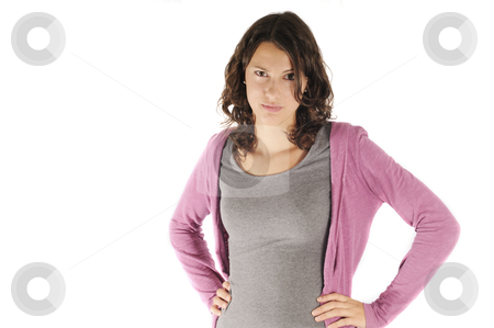 Angry teen stock photo, Young woman looking angry, isolated on white background by www.ericfahrner.com