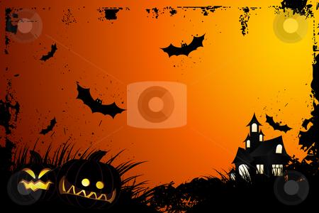 Halloween grunge background stock photo, Halloween grunge background with grass bat and hunting house by Vadym Nechyporenko