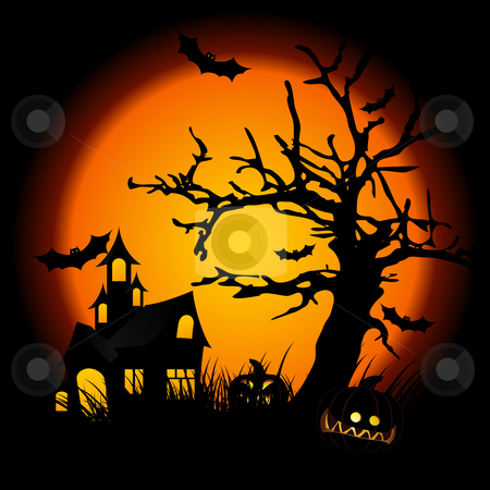 Halloween night stock photo, halloween night with pumpkin in grass tree bat and hunting house in background by Vadym Nechyporenko