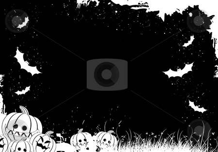 Grunge Halloween border stock photo, Grunge Halloween border with grass pumpkin and bat by Vadym Nechyporenko