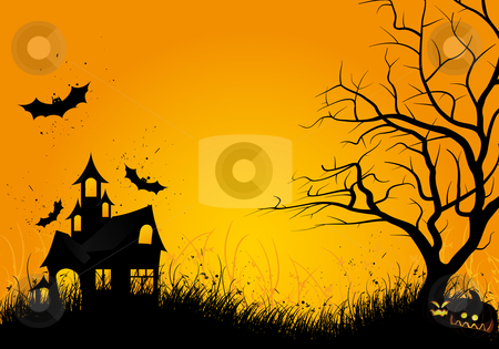 Halloween night stock photo, Halloween night background with tree pumpkin bat and house by Vadym Nechyporenko