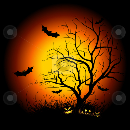 Halloween night stock photo, Halloween night background with tree pumpkin bat and grass by Vadym Nechyporenko