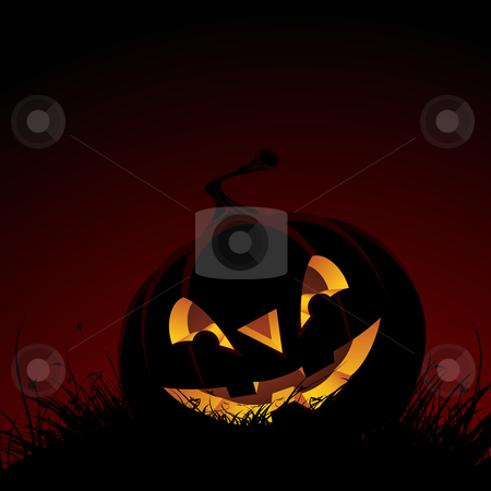 Halloween background stock photo, Halloween background with grass and pumpkin for your design by Vadym Nechyporenko