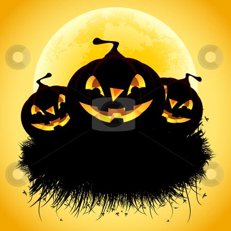 Halloween background stock photo, Halloween black ad background with grass and pumpkin by Vadym Nechyporenko
