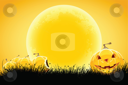 Halloween background stock photo, Halloween black and orange background with grass moon and pumpkin by Vadym Nechyporenko