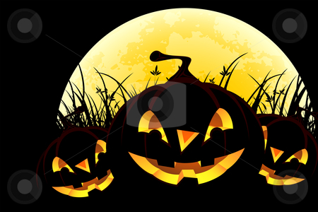 Halloween background with pumpkins and moon stock photo, Halloween background with pumpkins in grass and moon by Vadym Nechyporenko