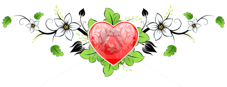 Valentines day Heart stock photo, Abstract Floral Valentine's day Heart with flowers by Vadym Nechyporenko