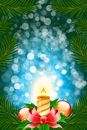 Winter Christmas card stock photo, Winter Christmas card with balls and candle in blue color by Vadym Nechyporenko