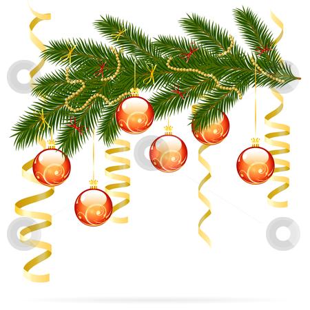 Christmas fir tree stock photo, Illustration of christmas fir tree with baubles and decoration isolated on white background by Vadym Nechyporenko