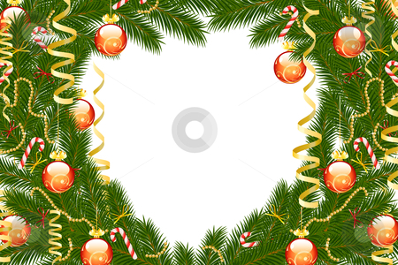 Christmas fir tree frame stock photo, Winter Christmas frame with balls and decoration on white background by Vadym Nechyporenko