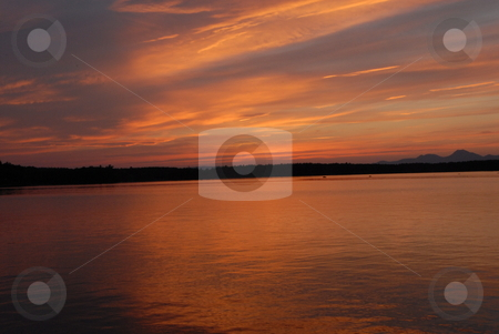 Lake Millinocket stock photo, Sunset over Lake Millinocket in Maine. by Tim Markley