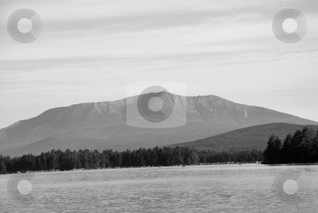 Mt. Katahdin stock photo, A view of Mt. Katahdin across Lake Millinocket in Maine. by Tim Markley