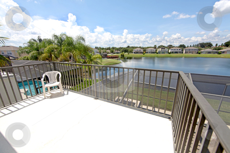 Balcony stock photo, A Balcony overlooking a lake in Florida by Lucy Clark