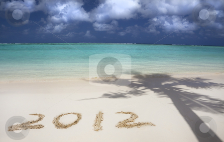 2012 on the beach of tropical island stock photo, 2012 on the beach of tropical island by tomwang