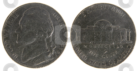 Old Worn US Nickel stock photo, Both sides of an old (1993) US nickel, isolated on a white background.  by Chris Hill