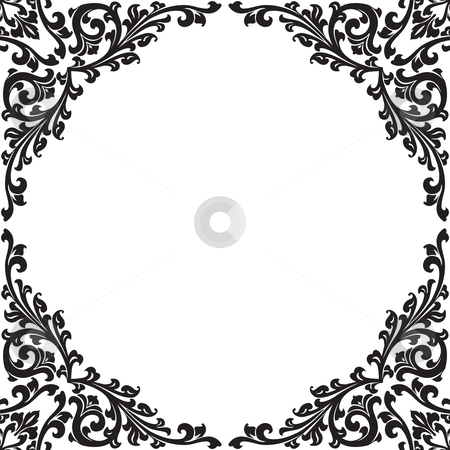 Abstract floral decorative black frame vector illustration stock photo, abstract floral decorative black frame vector illustration by Vadym Nechyporenko