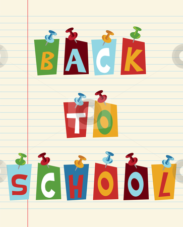 Back to School fun text stock photo, Back to school funny multicolored text with pushpins. by Cienpies Design