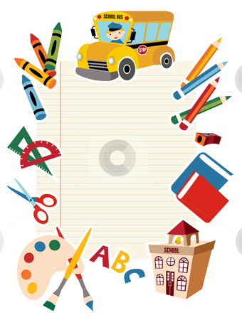 Back to school tools and supplies. stock photo, Set of School tools and Supplies background. by Cienpies Design