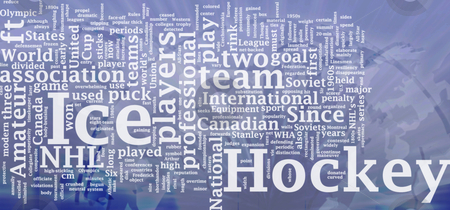 Ice hockey word cloud stock photo, Word cloud concept illustration of ice hockey international by Kheng Guan Toh