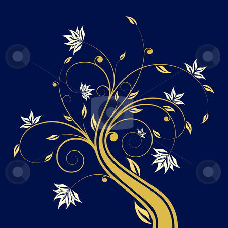 Floral scroll stock photo, Adstract painted floral scroll isolated on dark blue by Vadym Nechyporenko