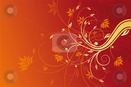 Floral scroll stock photo, Abstract painted background with floral scroll in hot red by Vadym Nechyporenko
