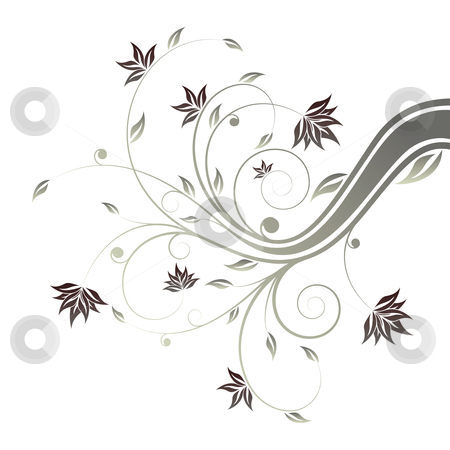Floral scroll stock photo, Abstract painted floral scroll isolated on white by Vadym Nechyporenko