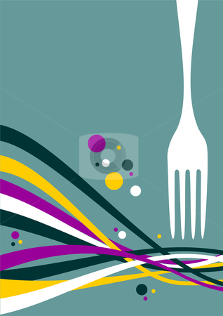 Fork with multicolored waves background stock photo, Fork with multicolored waves on light blue background. Food, restaurant, menu design with cutlery and waves background. Vector file also available. by Cienpies Design