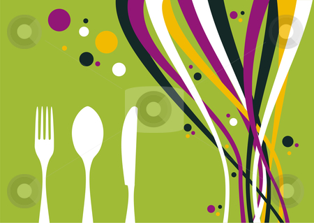 Fork, knife and spoon with multicolored waves background stock photo, Spoon, fork, knife and multicolored waves on lime background. Food, restaurant, menu design with cutlery and bubbles silhouettes. Vector file also available. by Cienpies Design