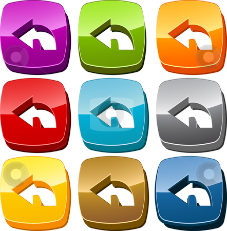 Back icon button set stock photo, Left back navigation icon button multicolored illustration set by Kheng Guan Toh
