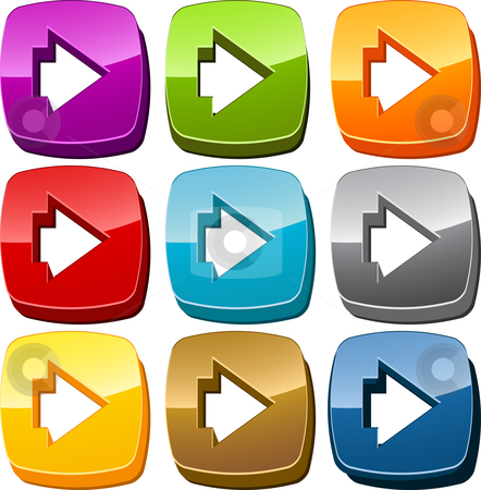 Right icon button set stock photo, Right forward navigation icon button multicolored illustration set by Kheng Guan Toh