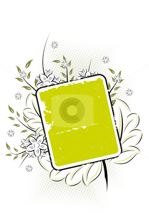 Vector grunge floral background stock photo, Vector grunge floral background with retro frame by Vadym Nechyporenko