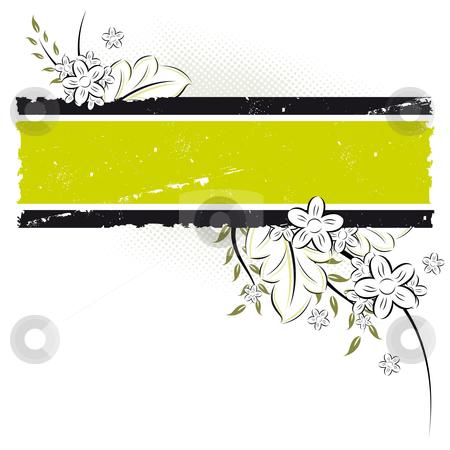 Vector grunge floral background stock photo, Vector grunge floral background with retro panel by Vadym Nechyporenko