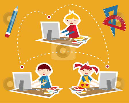 School social network communication stock photo, Children learning and social school communication diagram. Internet as a learning tool. by Cienpies Design